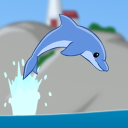 Star Splash - In Star Splash, play as a dolphin and use acrobatic skills to collect stars by jumping, flipping, dashing, and diving! - logo
