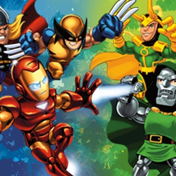 Superhero Squad: Fractal Frenzy - Iron Man and Ms. Marvel are searching for Infinity Gems in Dr. Doom's vault! Help them break in and grab the gems in Superhero Squad: Fractal Frenzy. - logo