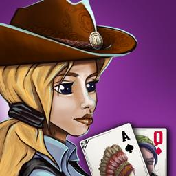 Solitaire Chronicles: Wild Guns - Help Shannon stop the Hole in the Wall Gang from taking over her town! Rebuild your wild west city by playing solitaire and optional match-3 levels - logo